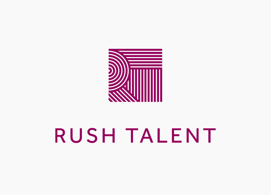 Logo designed by Bunch for London based public relations company Rush Talent