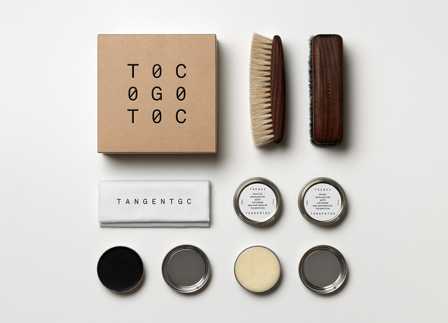 Logo and packaging for Swedish organic garment and shoe care brand Tangent Garment Care designed by Essen