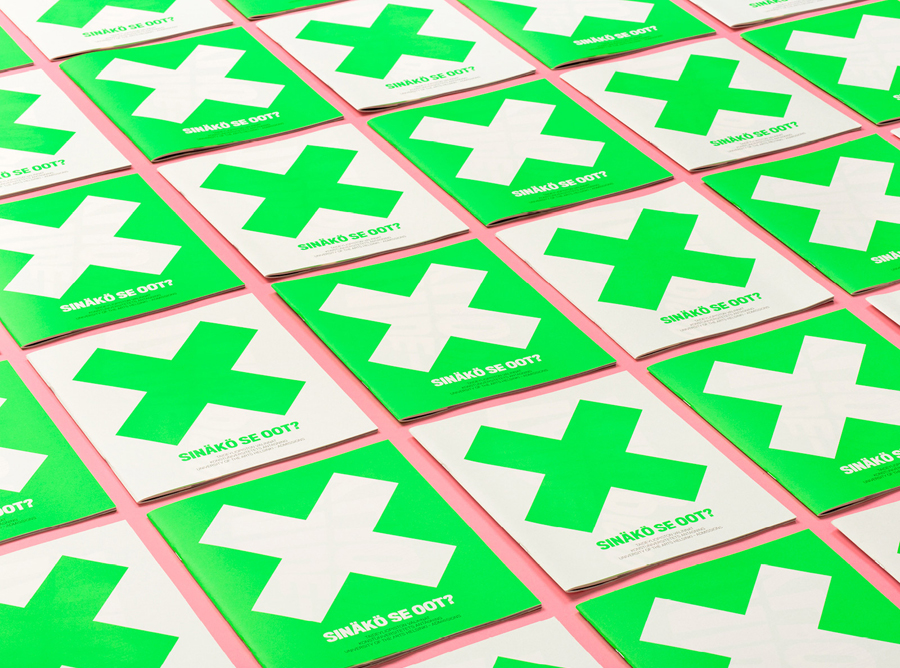 Print with fluorescent green ink detail designed by Bond for the University of the Arts Helsinki