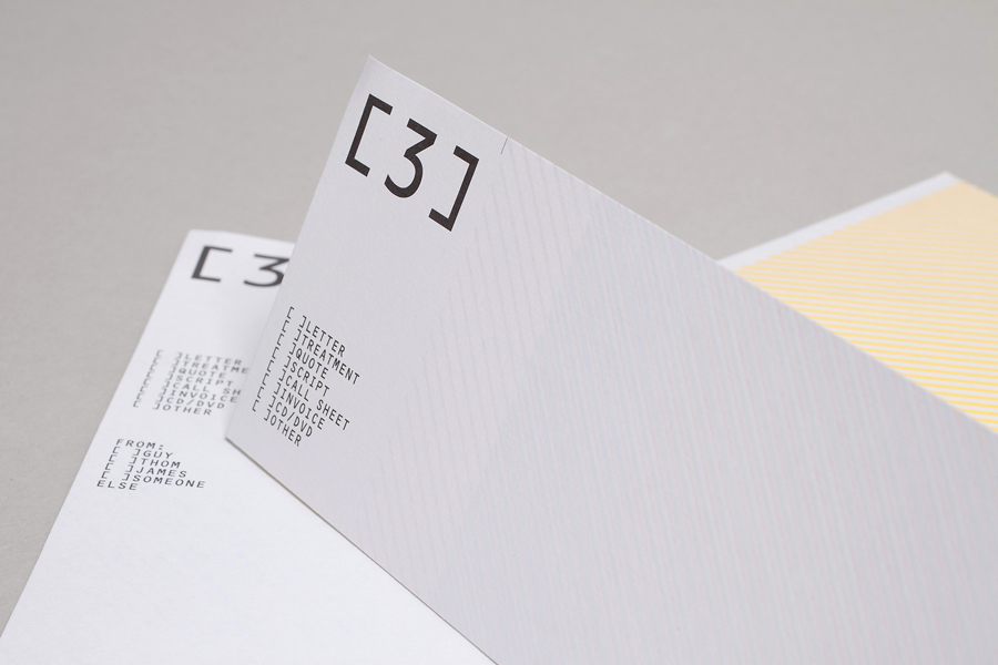 Logo and compliment slip designed by Build for London based production and digital content company 3angrymen