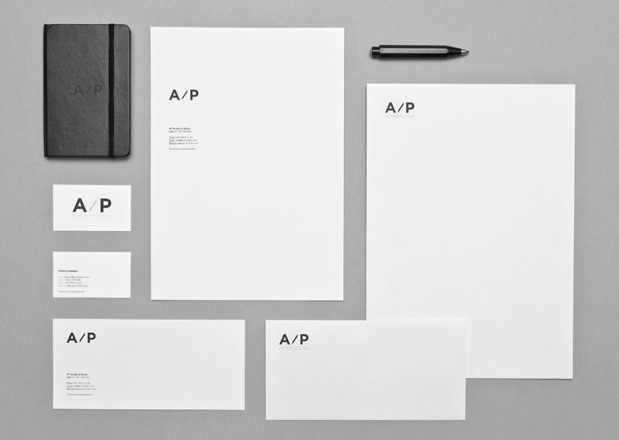 Logo and stationery designed by The Drop for AP Shutters & Blinds