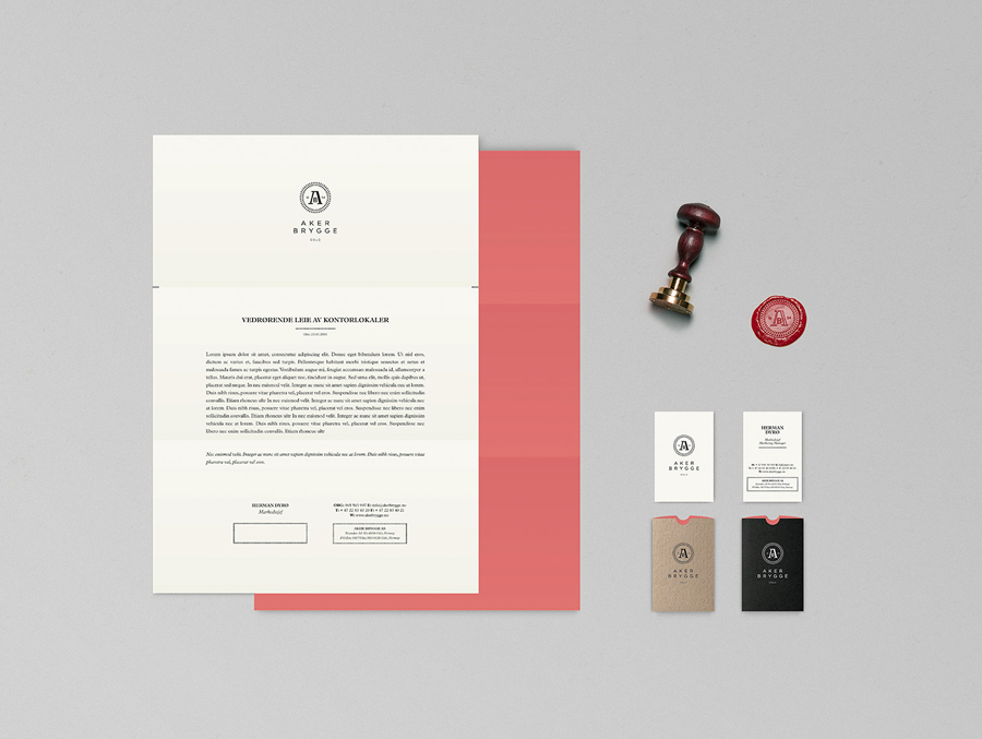 Logo and stationery design with wax seal detail designed by Bleed for the redevelopment of Oslo waterside district Aker Brygge