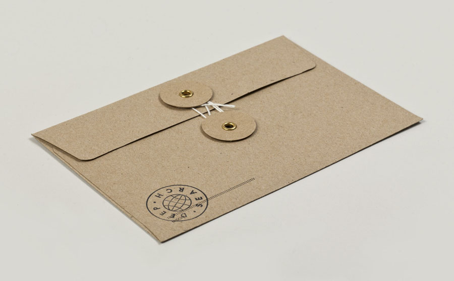 Envelope with uncoated, unbleached material and stamp detail created by Bielke+Yang for Norwegian shoe brand Deep Search