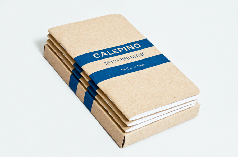 Logo and notebook packaging with uncoated, unbleached material detail designed by Studio Birdsall for French notebook brand and manufacturer Calepino