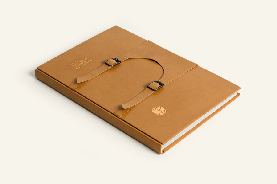 Leather lookbook with gold block foil detail designed by RoAndCo for footwear and fashion brand Candela