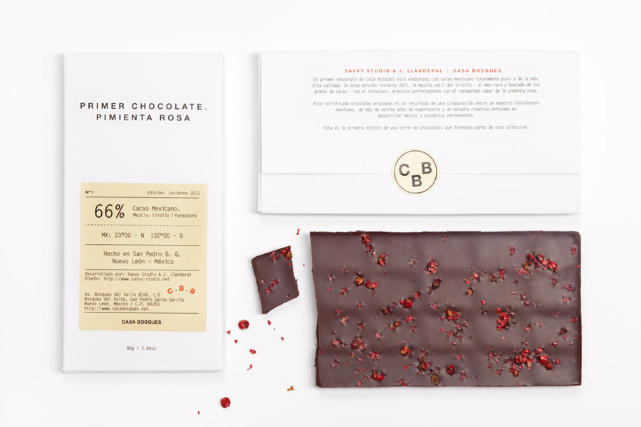 Packaging with emboss and sticker details designed by Savvy for Casa Bosques' new line of seasonal chocolates