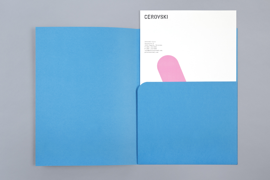 Letterhead and blue card folder for print production studio Cerovski designed by Bunch