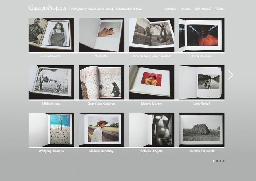 Website designed by Berg for vintage and contemporary book archive and review site Claxton Projects