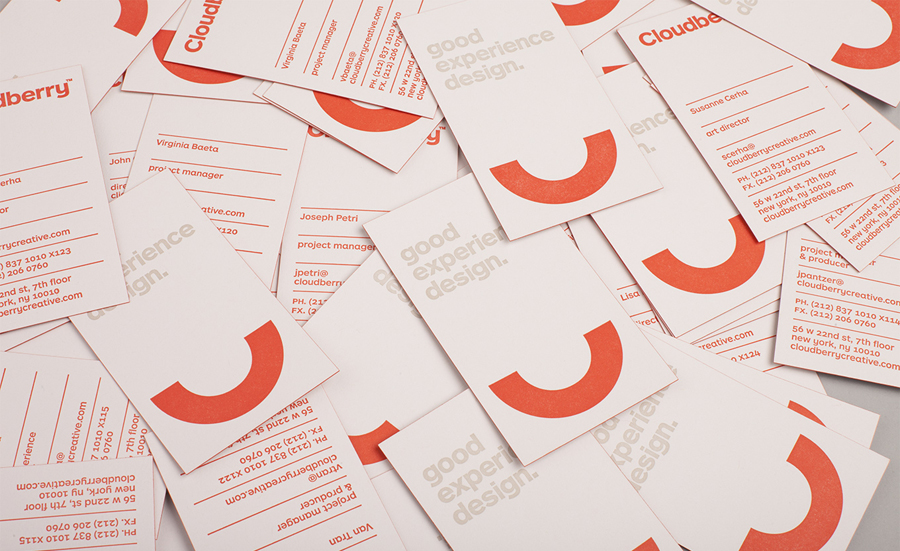 Logo and business card with red edge painted detail designed by Perky Bros for Cloudberry