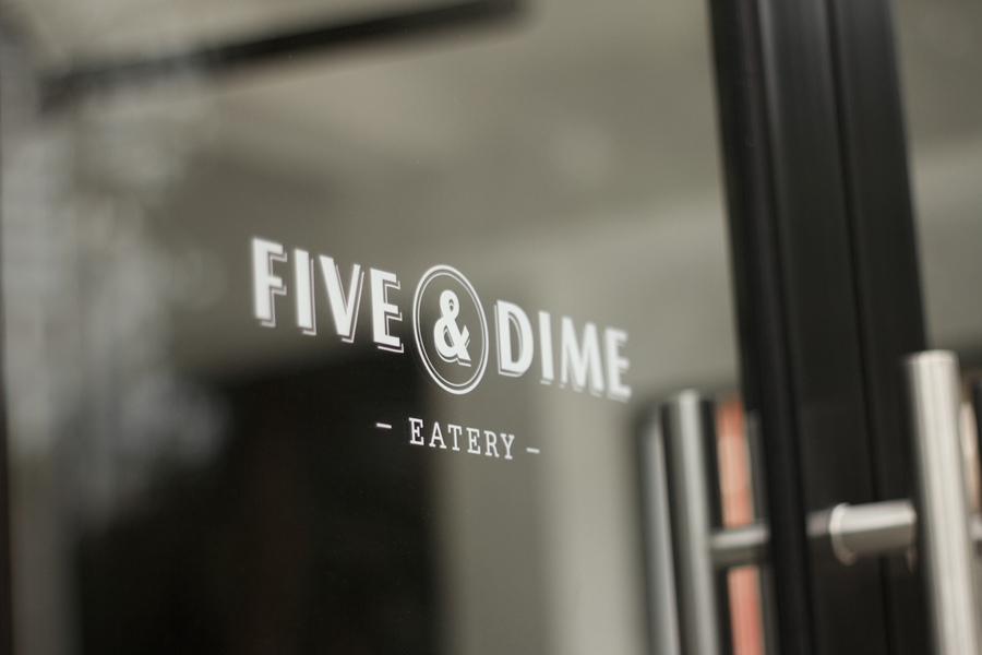 Logo design and signage by Bravo Company for Singapore cafe and restaurant Five & Dime