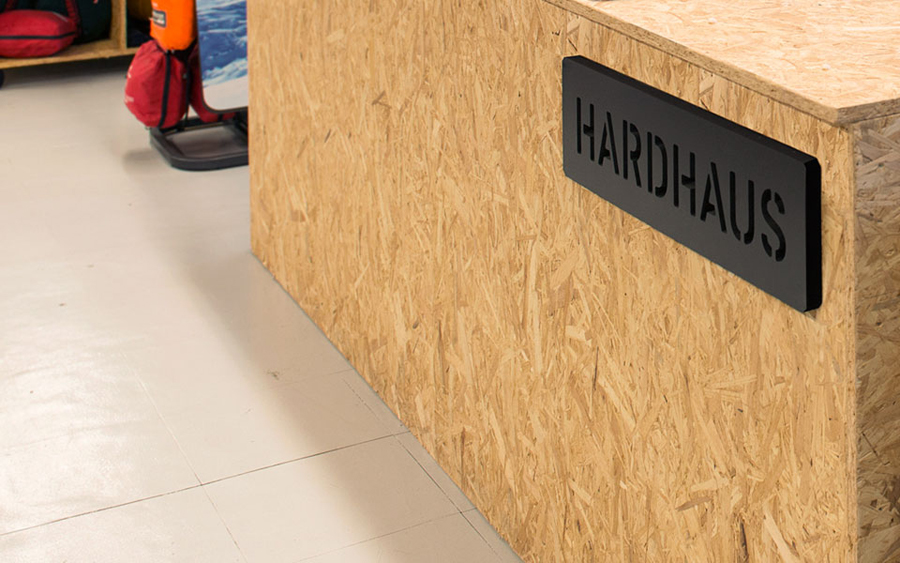 Logotype and chipboard table designed by Heydays for mountain sports retailer Hardhaus