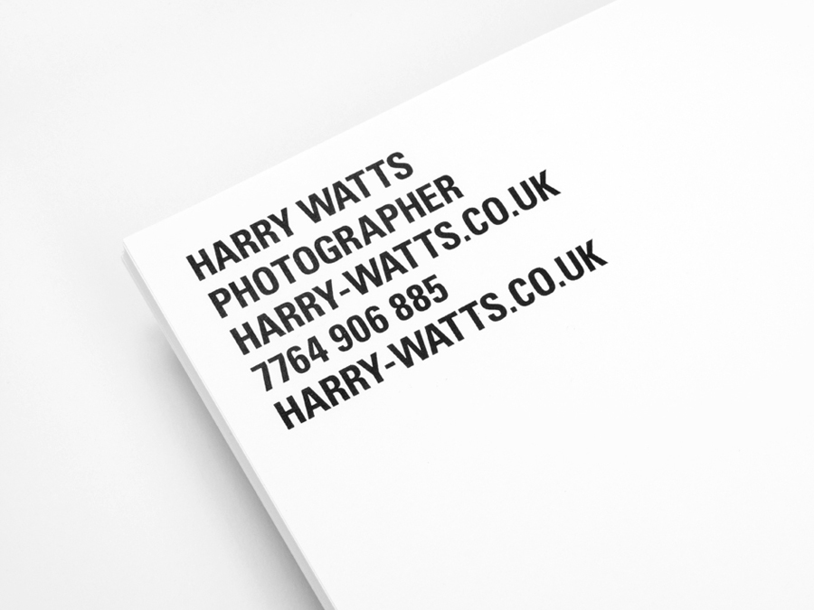 Headed paper designed by Birch for British photographer Harry Watts