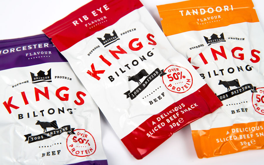 Packaging designed by Robot Food for snack and supplement range Kings Biltong