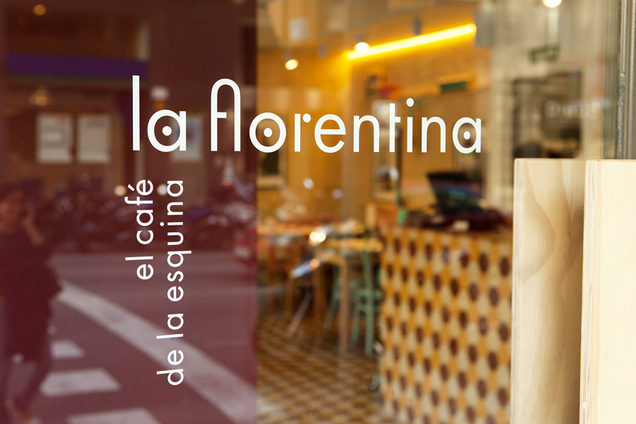 Logotype as a window decal designed by Mucho for Barcelona based Deli restaurant and all day cafe La Florentina