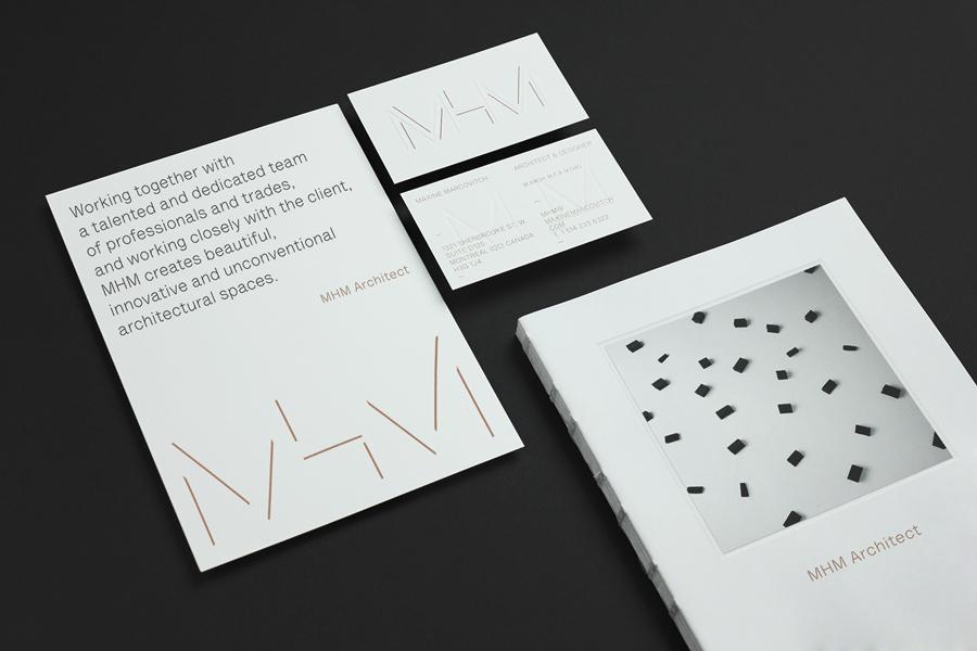Logo, brochure and blind embossed business cards with metallic copper spot for MHM Architects by 26 Lettres