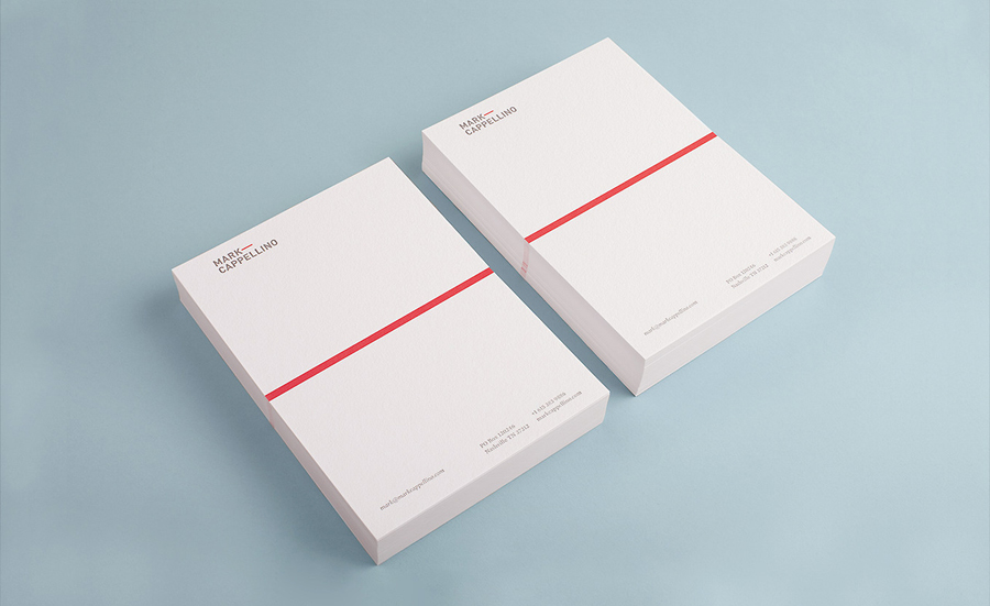 Logo and letterhead with emboss detail designed by Perky Bros for leadership consultant Mark Cappellino