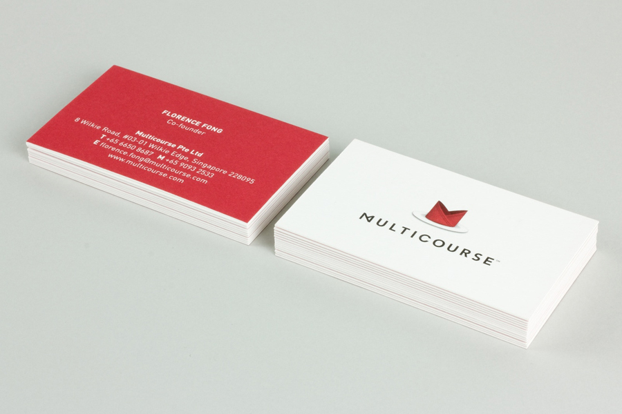 Logo and business card for Multicourse designed by Bravo Company