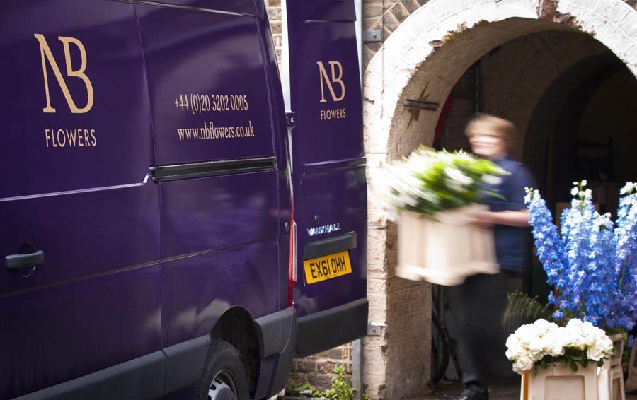 Logo and van livery for florist NB Flowers designed by Karoshi