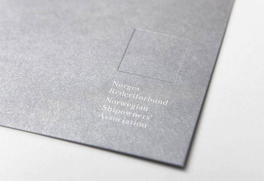 Logo and print with deboss detail designed by Neue for Oslo-based Norwegian Shipowners' Association