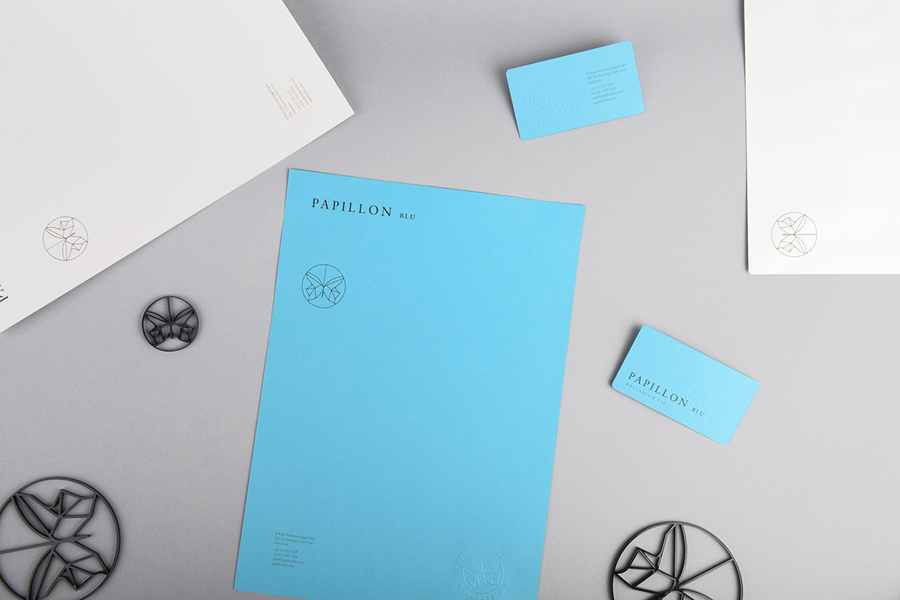 Logo and stationery with coloured paper detail designed by Sciencewerk for Indonesian spa Papillon Blu