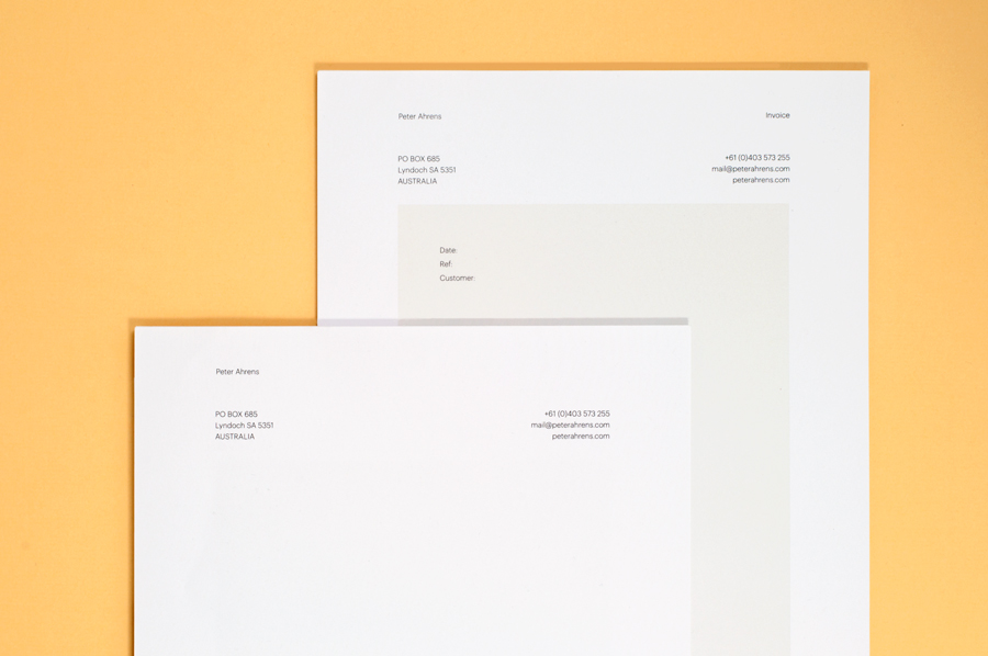 Logotype and letterhead for photographer Peter Ahrens by Studio Jubilee