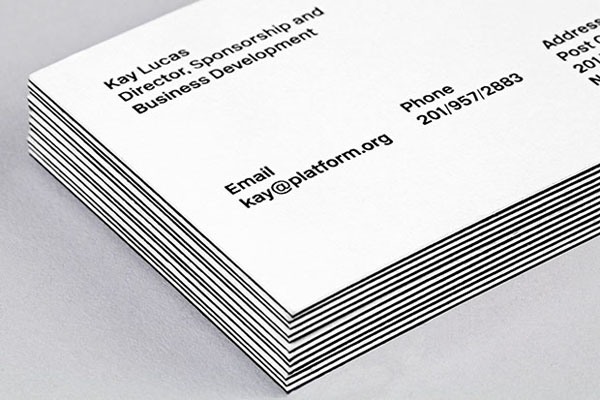 Logo and duplex business card designed by Pentagram for not-for-profit, technology and entrepreneurship organisation Platform