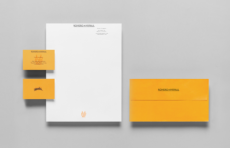 Logo and stationery design by Anagrama for luxury slipper brand Romero+McPaul