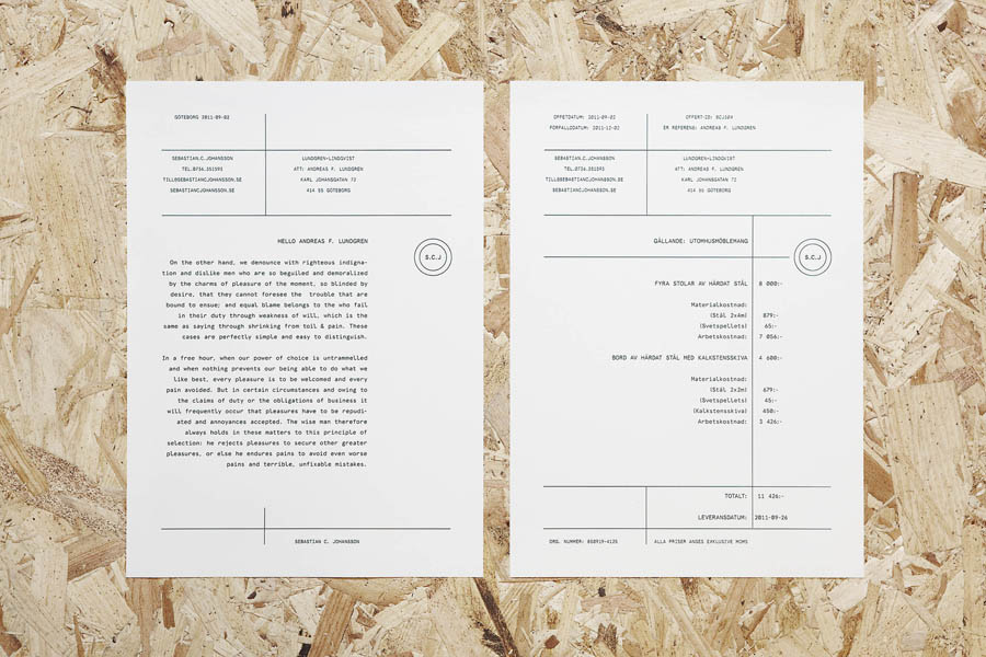 Logo and letterhead design by Lundgren+Lindqvist for Swedish bespoke furniture designer and manufacturer Sebastian C. Johansson