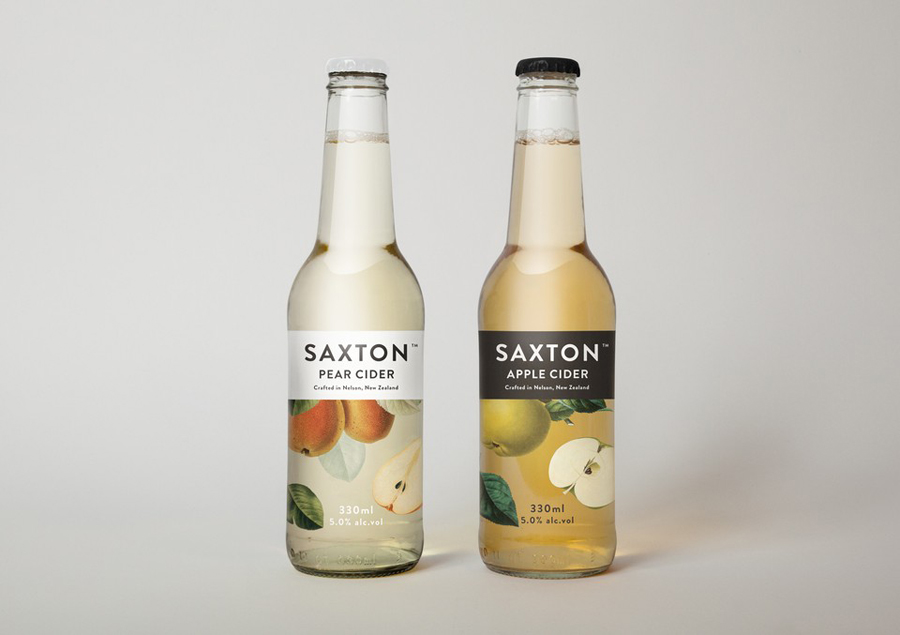 Packaging with traditional, botanical illustrative detail designed by Supply for Saxton Cider