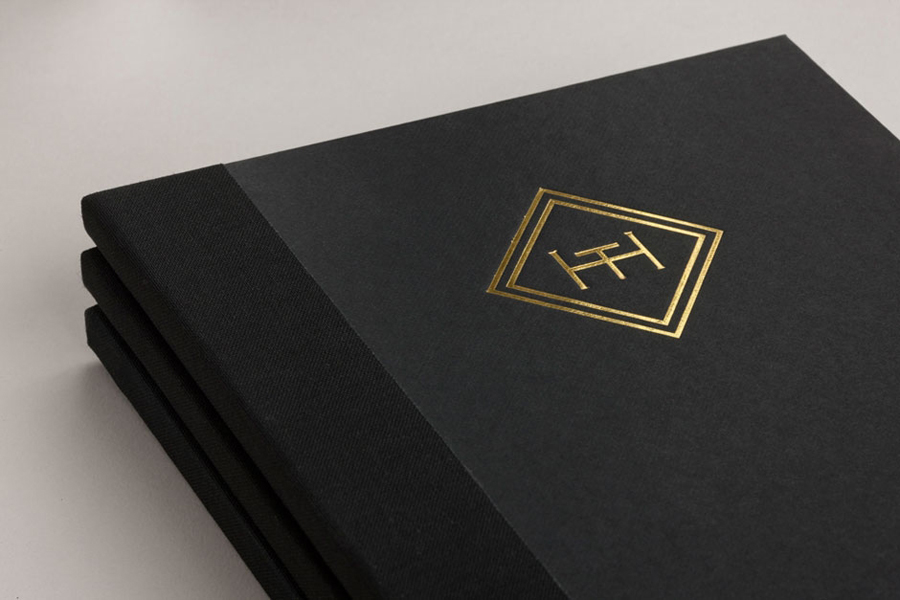 Logo and menu with gold foil and embossed cover detail for brasserie The Honours designed by Touch