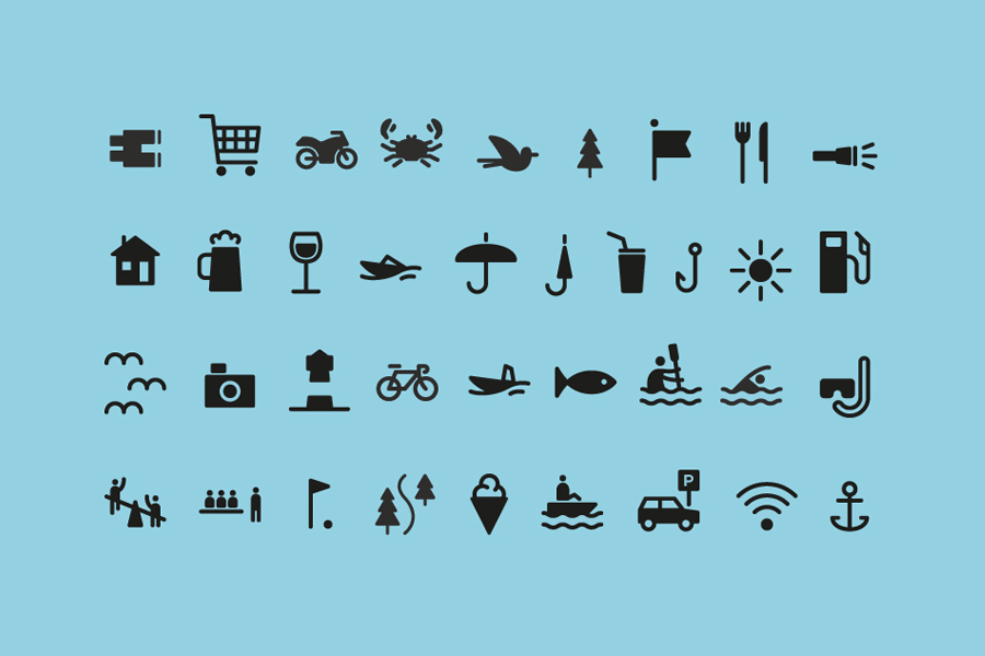 Iconography designed by Neue for Norwegian coastal holiday resort Tregde Ferie