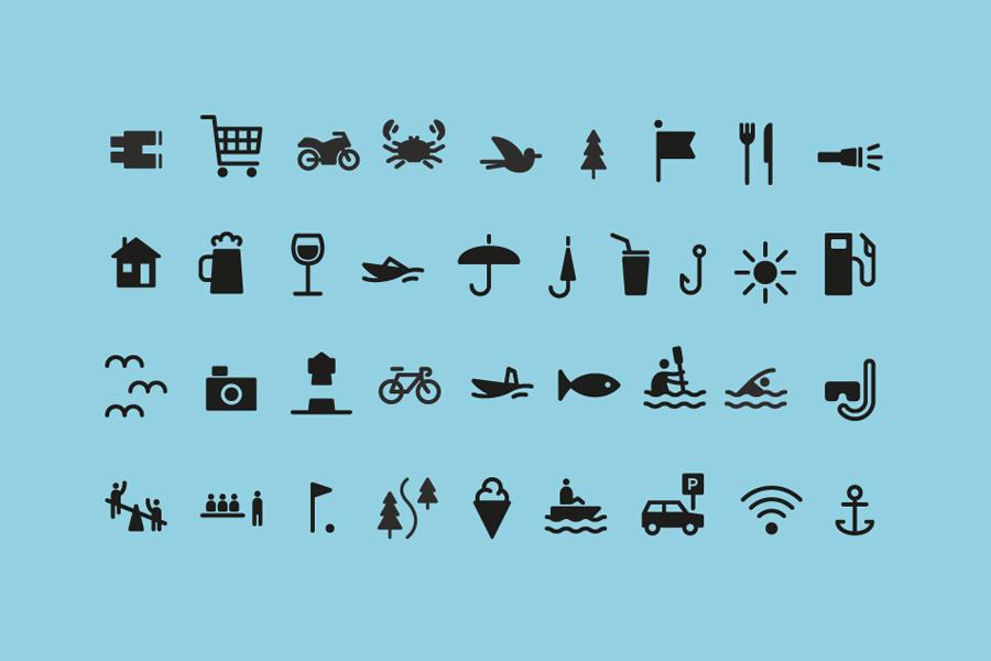 Iconography designed by Neue for Norwegian coastal holiday resort Tregde Ferie