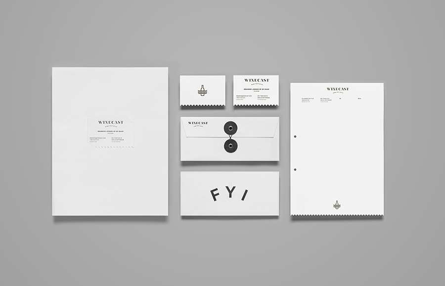 Logo and stationery designed by Anagrama for online wine-tasting, curation and delivery service Winecast
