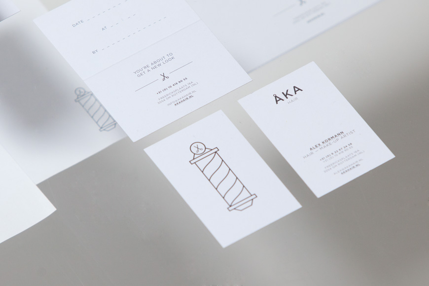Logo, business and appointment card designed by DC for hair salon ÅKA
