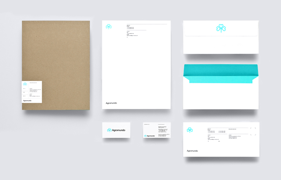 Logo and stationery with neon turquoise ink detail for pesticide retailer and manufacturer Argromundo designed by Anagrama
