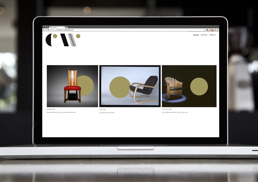 New logo and website by Studio Alexander for furniture maker, sculptor and design educator Carin Wilson