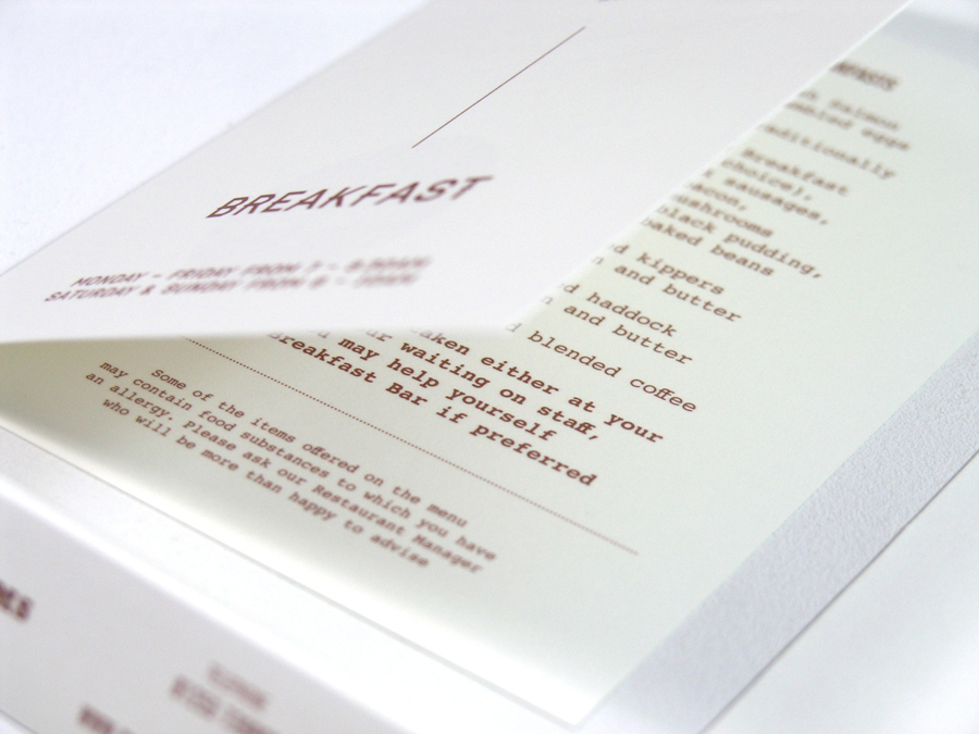 Breakfast menu with copper ink print treatment designed by Wash for the Clifton Arms Hotel