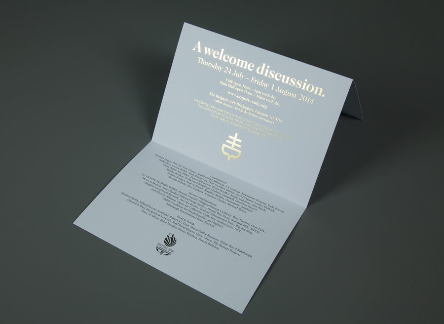 Invitation with gold foil print finish designed by Graphical House for The Empire Café