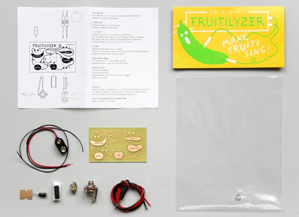 Packaging with fluorescent spot colours designed by Resort for fruit and vegetable based electronic music making kit Fruitilyzer