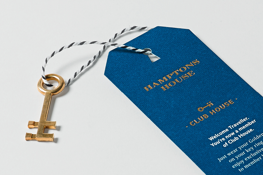 Tag with gold foil and die cut detail designed by Moffitt.Moffitt for Sydney furniture and homeware retailer Hamptons House