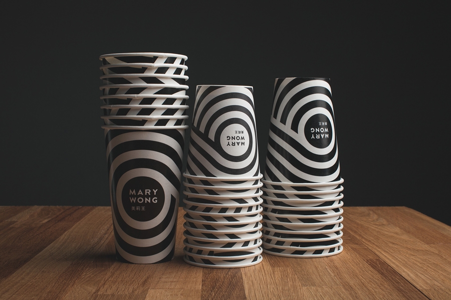 Logo and soda/coffee cup designed by Fork for fast food chain Mary Wong