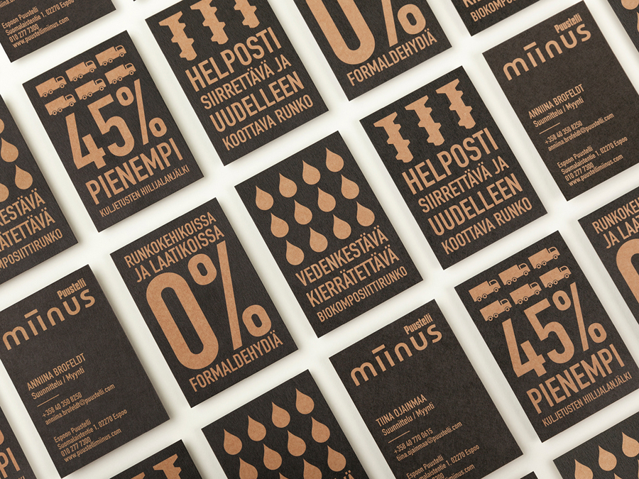 Business cards designed by Bond for Puustilli's new reductionist kitchen Miinus
