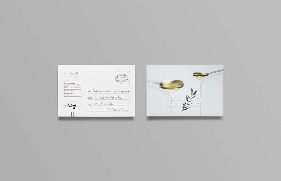 Postcard for olive oil brand Olaf designed by Anagrama