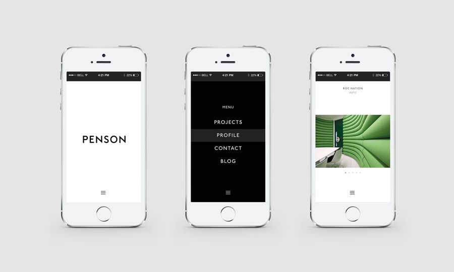 Logotype and mobile website for interior design firm Penson Group created by She Was Only