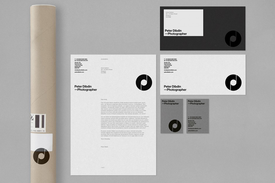 Stationery designed by O Street for photographer Peter Dibdin