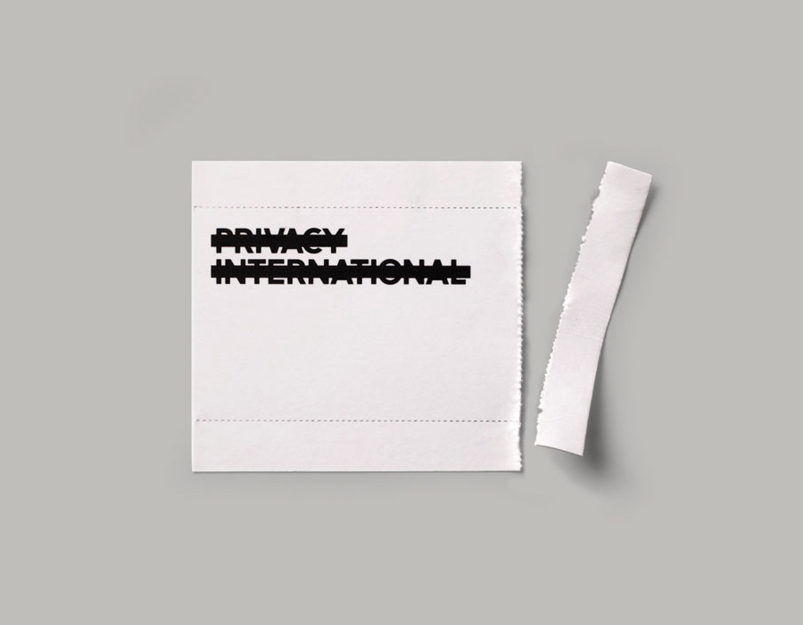 Logo and print with perforated detail designed by This Is Real Art for Privacy International