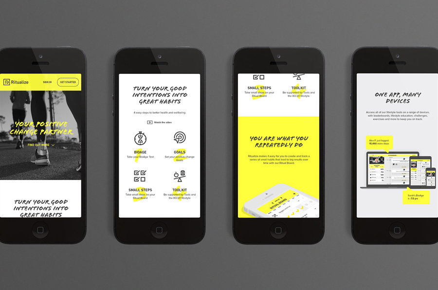 Logo and website designed by Shorthand for fitness and lifestyle app Ritualize