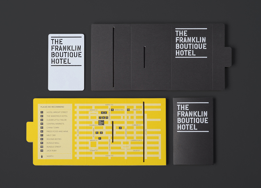Visual identity and print designed by Band for The Franklin Boutique Hotel