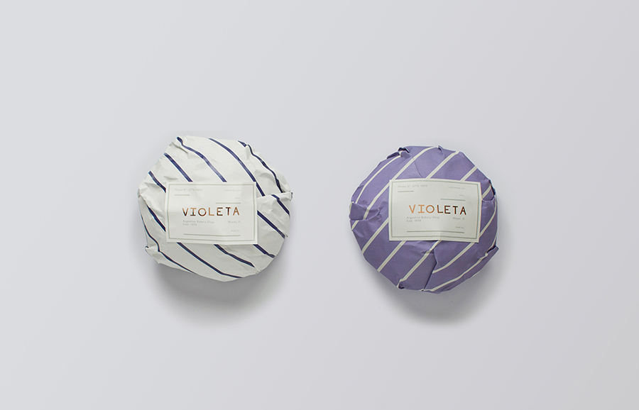 Logo and packaging with copper foil detail designed by Anagrama for traditional Argentinian bakery Voleta