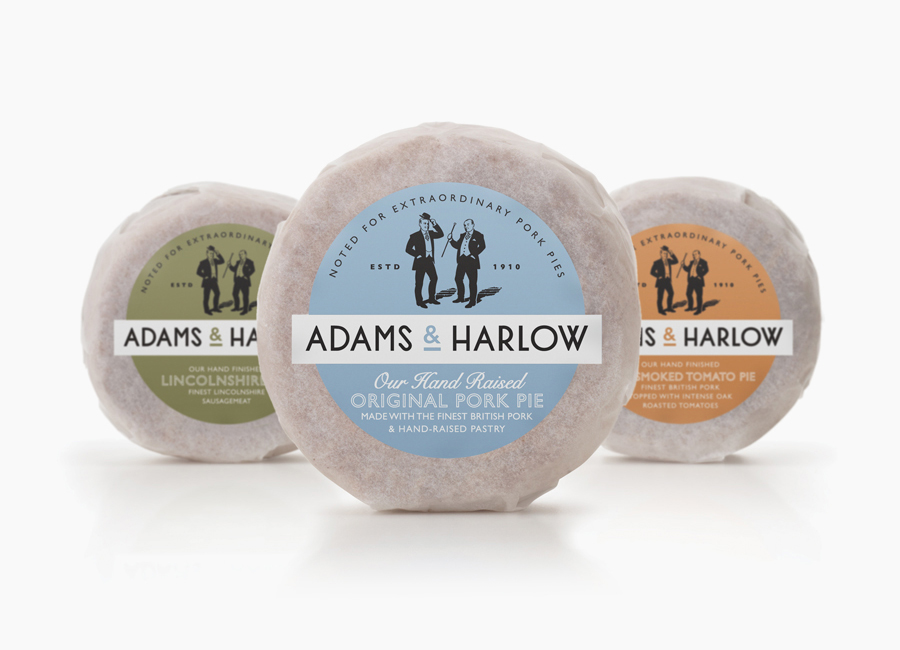 Packaging and branding created by Designers Anonymous for Lincolnshire made pork pie brand Adams & Harlow